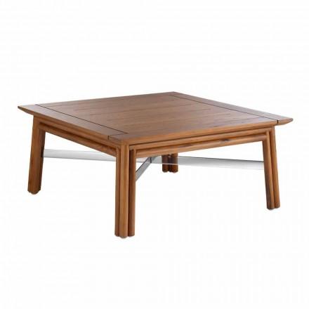 Mesa baja cuadrada para exterior en madera natural o diseño negro - Suzana