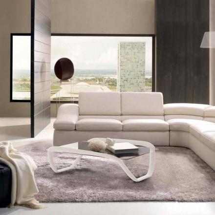 Mesita blanca diseño moderno cristal y Solid Surface® Continuum