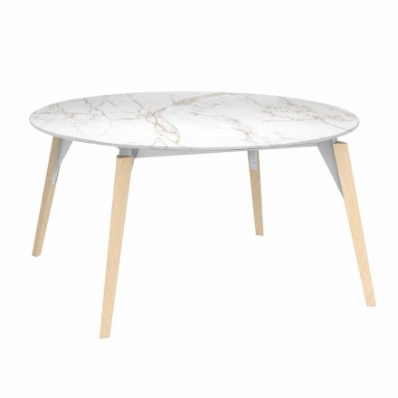 Mesa de centro redonda con tablero de efecto mármol, 3 colores, 2 tamaños - Faz Wood by Vondom