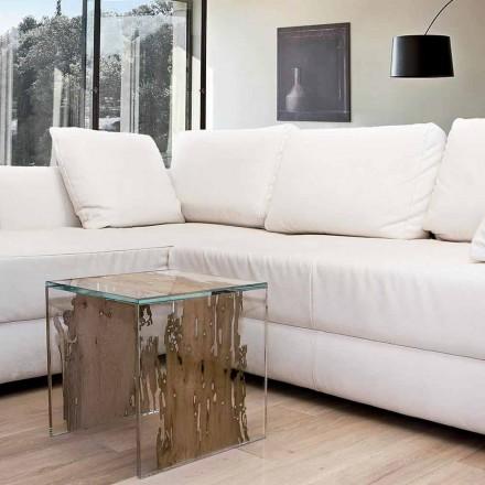 Mesa / mesilla de madera de briccola de Venecia y cristal Rialto