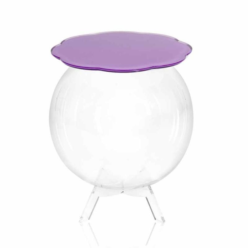 Mesa redonda / contenedor Biffy en color lavanda, diseño moderno
