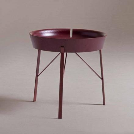 Mesa de centro para salón en acero y madera coloreada de diseño moderno - Cocoon
