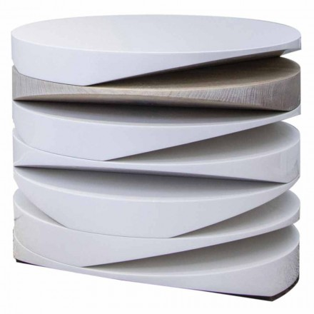 Mesa de centro de mármol blanco con inserto de travertino Made in Italy - Life