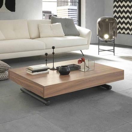 Mesa de centro moderna transformadora en madera y metal Made in Italy - Fabio