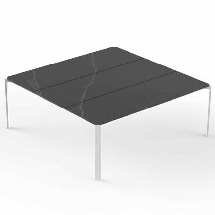 Mesa de centro cuadrada de jardín con tablero de efecto mármol - Tableta de Vondom