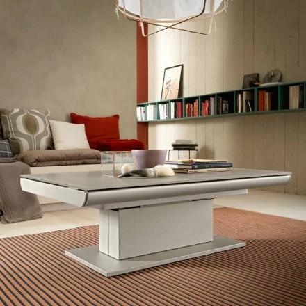 Mesa de centro transformadora en vidrio y acero Made in Italy - Silvestro