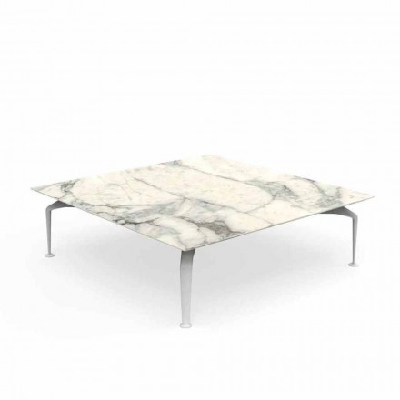 Mesa de centro al aire libre cuadrada de gres Calacatta - Cruise Alu by Talenti