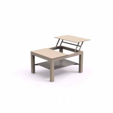 Mesa de jardín que se puede abrir, encimera de cristal con estampado Chic Small
