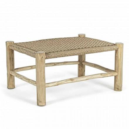 Mesa de centro de jardín en ramas de teca con tablero de fibra tejida - Tecno