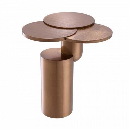 Mesa de centro de diseño en acero con acabado de cobre cepillado - Olbia
