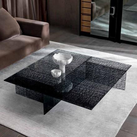 Mesa de centro de diseño Extralight Vidrio decorado Made in Italy - Sestola