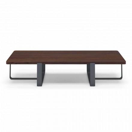 Mesa de centro de lujo en metal coloreado y tapa de madera - Anacleto