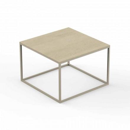 Mesa de centro de jardín de diseño, tablero cuadrado efecto mármol - Suave by Vondom