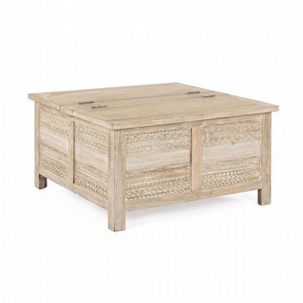 Mesa de centro Homemotion en madera de mango con contenedor - Mixo
