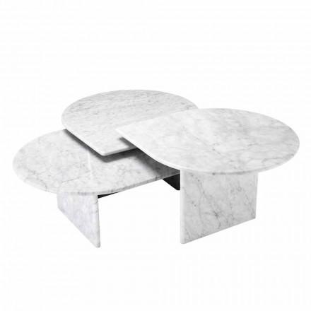 Mesa de centro en mármol blanco de Carrara formato de 3 piezas - Marsala