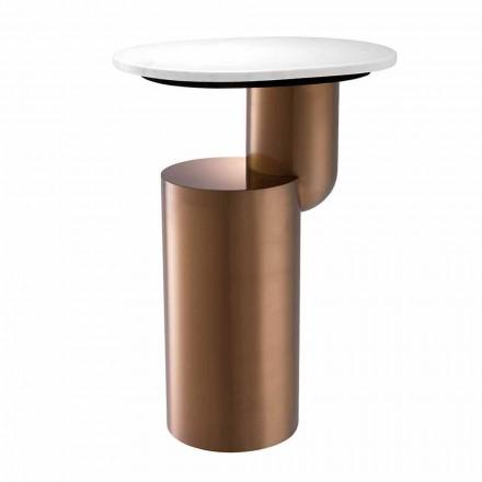 Mesa de centro moderna de mármol blanco con base de cobre - Cosenza
