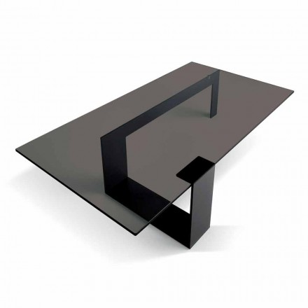 Mesa de centro moderna con tapa de cristal ahumado y base de metal Made in Italy - Scoby