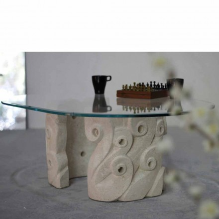 Mesita ovalada piedra Vicenza y cristal hecha a mano Lindos
