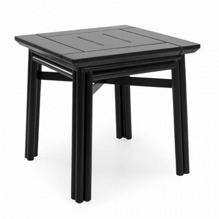 Mesa de centro para exterior en madera natural o negra, 2 tamaños - Suzana