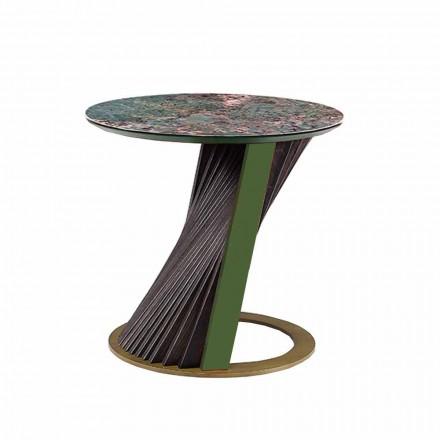 Mesa de centro redonda de lujo en gres y fresno Made in Italy - Bering