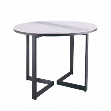 Mesa de centro redonda de gres y metal moderno Made in Italy - Albert
