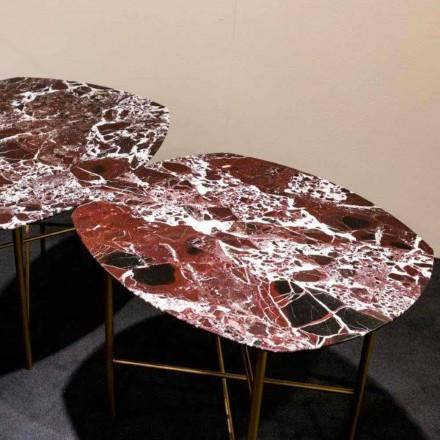 Mesa de diseño en mármol rojo Levanto y metal, Made in Italy - Morbello