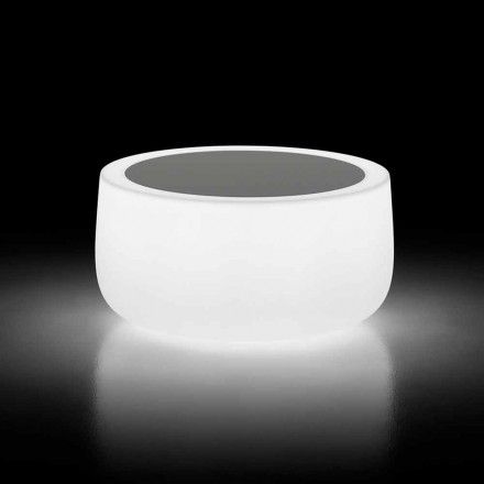Mesa de centro para exterior brillante con luz LED y tapa de Hpl Made in Italy - Belida