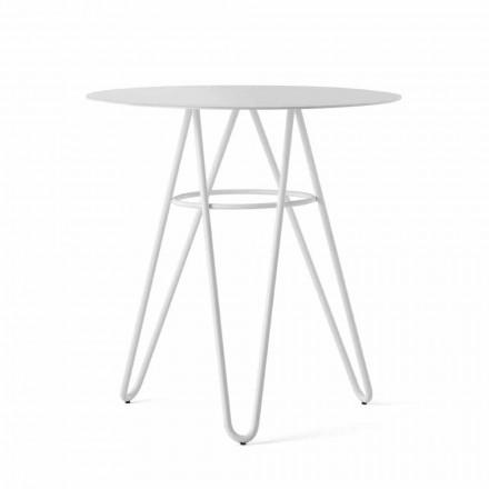 Preciosa mesa de centro para exterior en HPL y metal blanco Made in Italy - Dublin