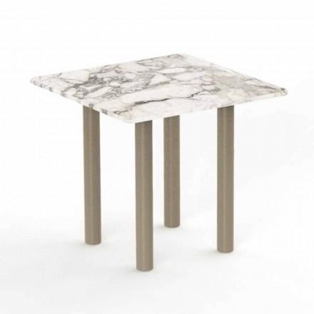 Mesa de centro cuadrada de aluminio y Gres para exteriores - Panama by Talenti