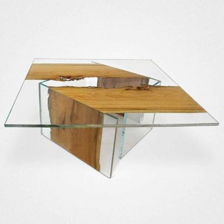 Mesita cuadrada de madera de briccola de Venecia y cristal Laguna