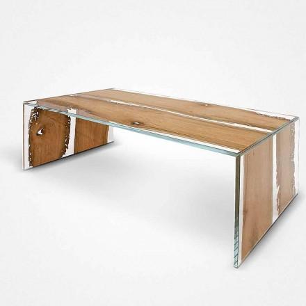 Mesita rectangular de cristal y madera de briccola de Venecia Giudecca
