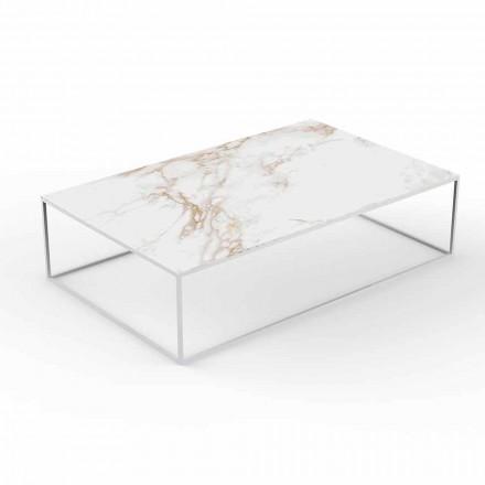 Mesa de centro para exterior moderna con tablero de efecto mármol y aluminio - Suave by Vondom