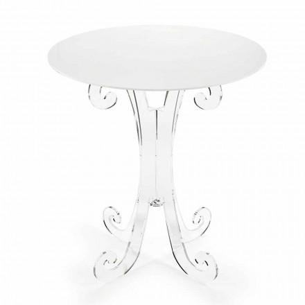 Mesa de centro redonda en plexiglás transparente y blanco o con madera - Stilio