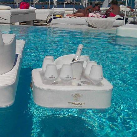 Mesa de centro - Bandeja flotante en ecopiel náutica y plexiglás Trona