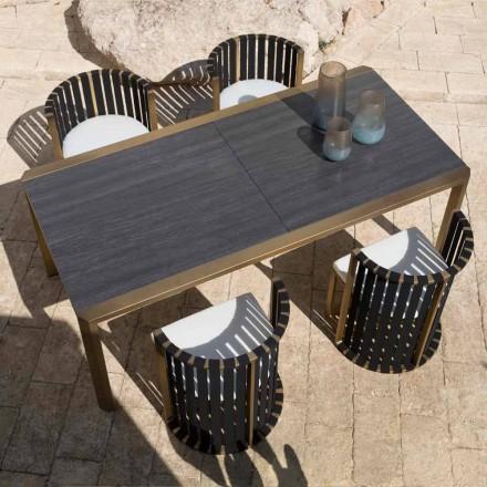Mesa extensible de comedor al aire libre de 340 cm en aluminio y vidrio o laminado - Julie