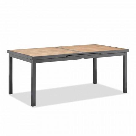 Mesa extensible a 240 cm de exterior en aluminio y tapa de teca - Venera
