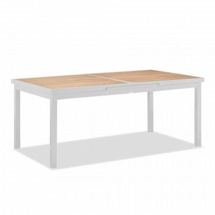 Mesa extensible para exterior en aluminio y tapa de teca - Bilel
