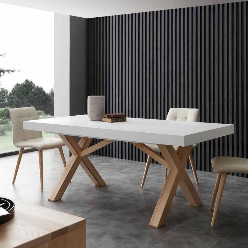 mesa extensible blanco con estructura maciza natural Rico