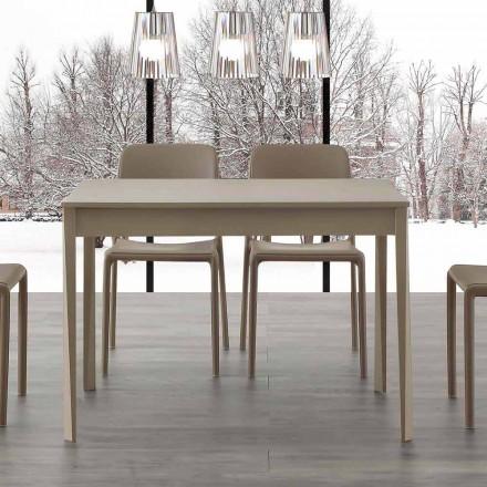 Mesa extensible con patas en madera maciza Empoli, diseño moderno.