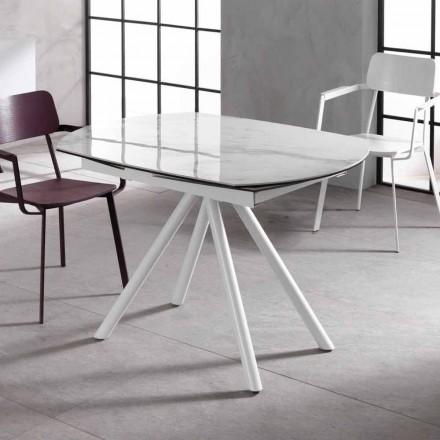 Mesa extensible con tapa de cerámica y patas de metal, Lozzolo