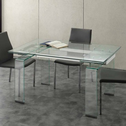 Mesa extensible moderna con tablero de vidrio templado modelo Lord