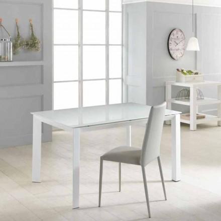 Mesa extensible con tablero de cristal templado Vinicio