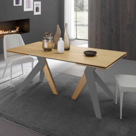Mesa de comedor extensible con sobre de madera de roble Daryl, made in Italy