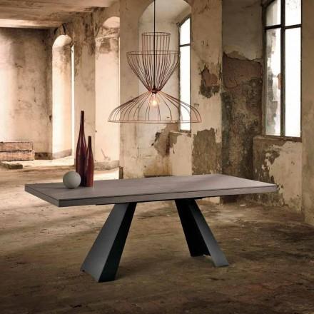 Mesa de diseño extensible en madera de roble fabricada en Italia Zerba