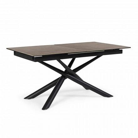 Mesa extensible hasta 220 cm en cerámica y acero Homemotion - Brianza