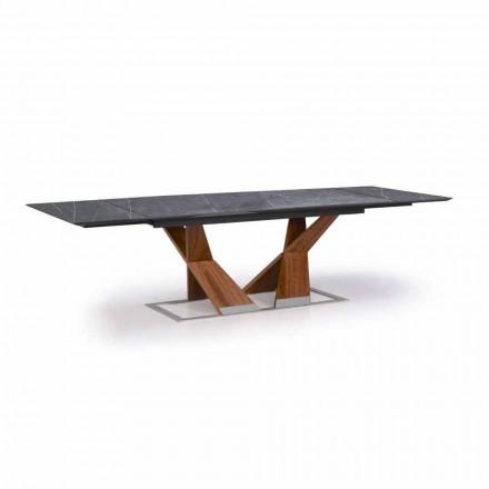 Mesa extensible hasta 294 cm con tablero de Gres Made in Italy - Monique