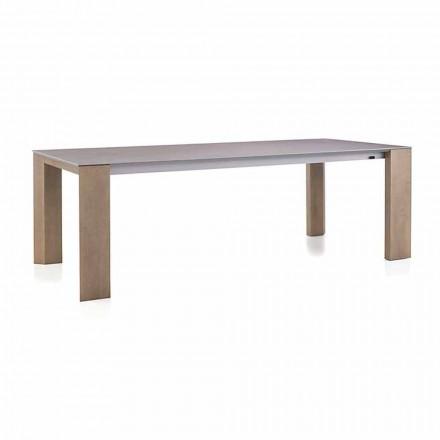 Mesa extensible hasta 300 cm en cerámica y patas de madera - Ipanemo