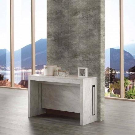 Mesa / consola extensible hasta 8/10 asientos, acabado en mármol madera, Ussana