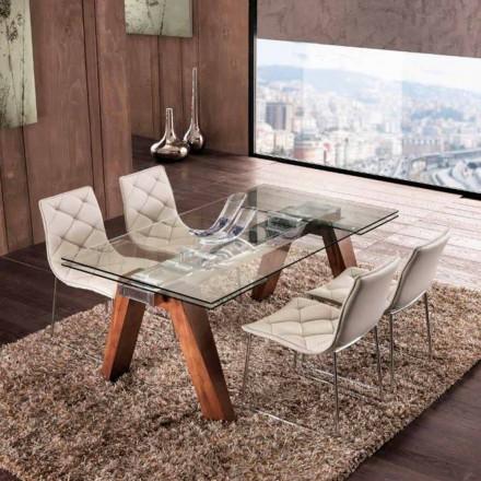 Mesa extensible de madera maciza y vidrio templado modelo Chad