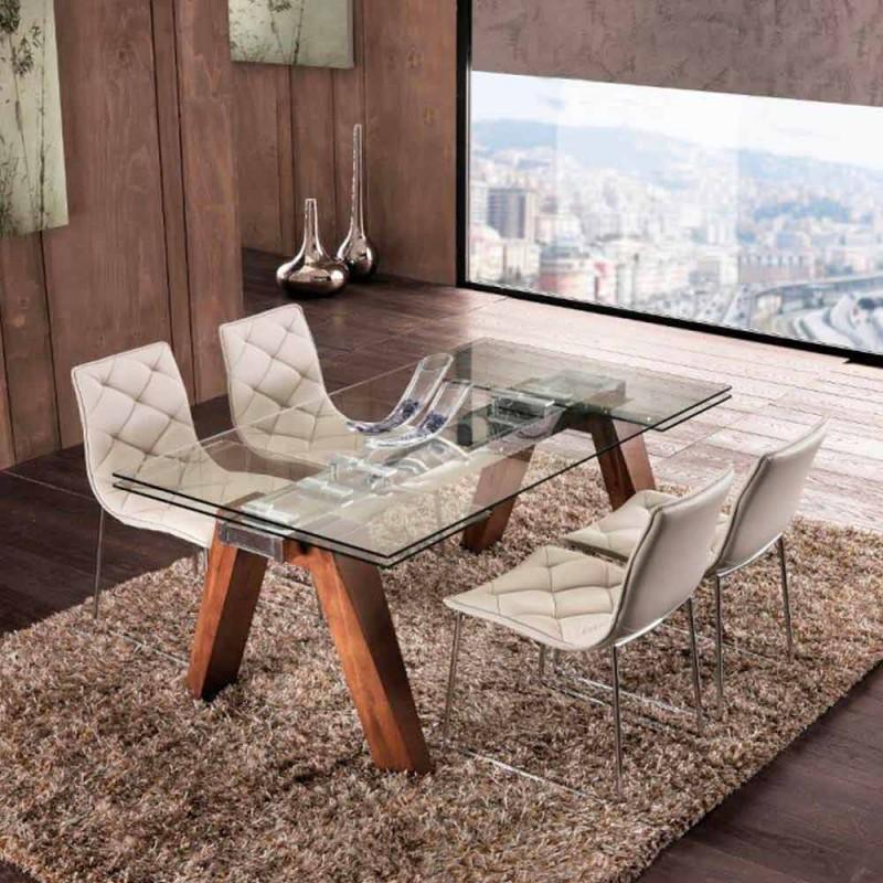 Mesa extensible de madera maciza y vidrio templado modelo chad - Mesas de vidrio templado ...